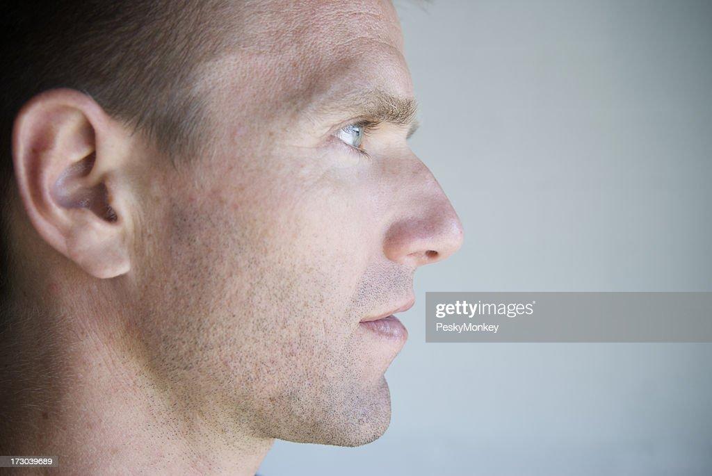 Close-Up Profile of a Man