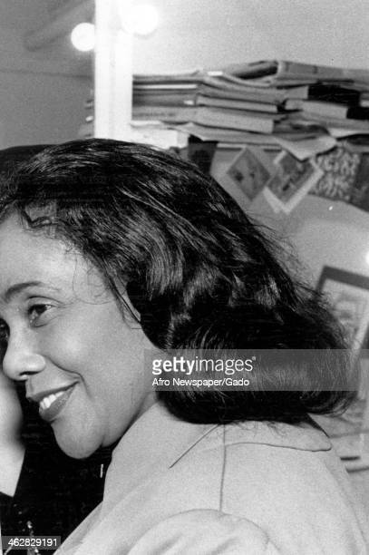 Closeup profile of American Civil Rights activist Coretta Scott King 1970s or 1980s