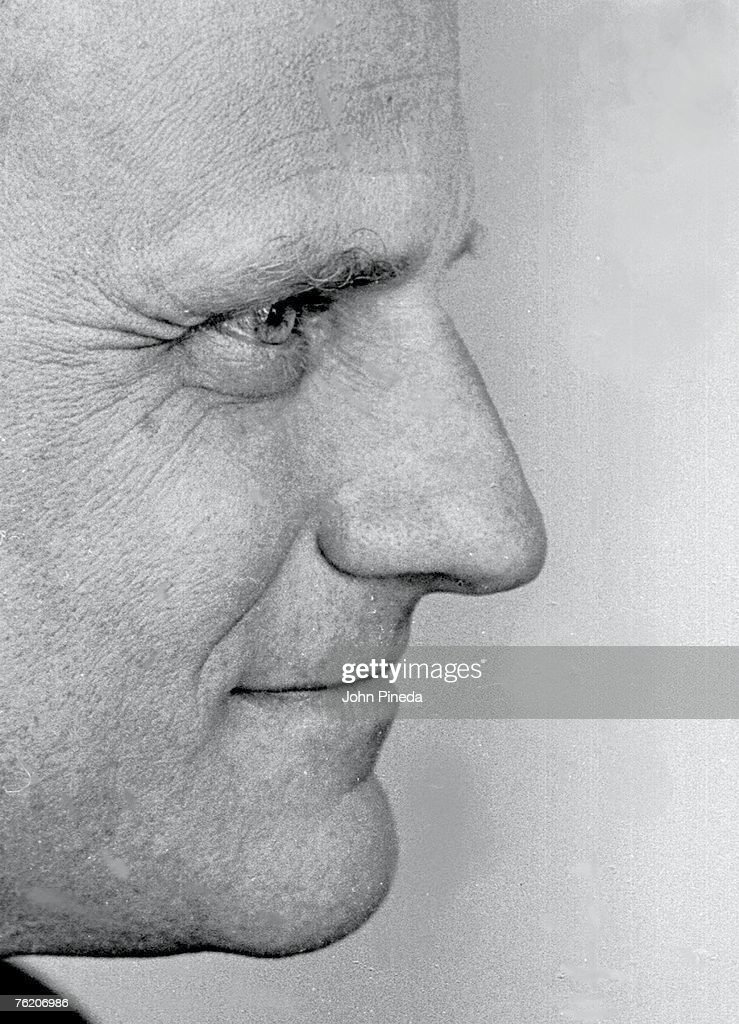 Close-up profile of American evangelical minister Reverend <a gi-track='captionPersonalityLinkClicked' href=/galleries/search?phrase=Billy+Graham+-+Evangelist&family=editorial&specificpeople=167098 ng-click='$event.stopPropagation()'>Billy Graham</a>, Miami, Florida, 1966.