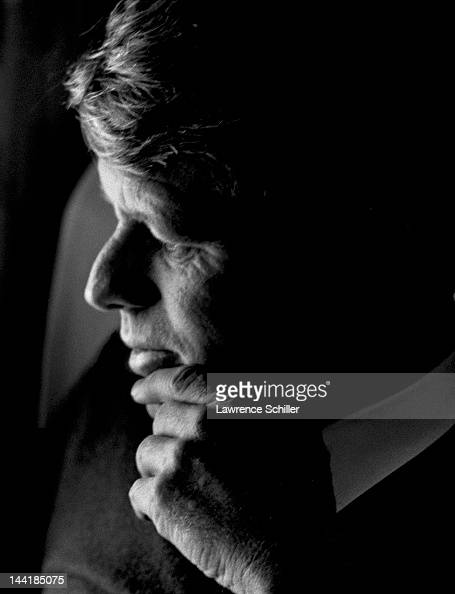Closeup profile portrait of American politician Robert F Kennedy during a campaign flight to Los Angeles early 1968