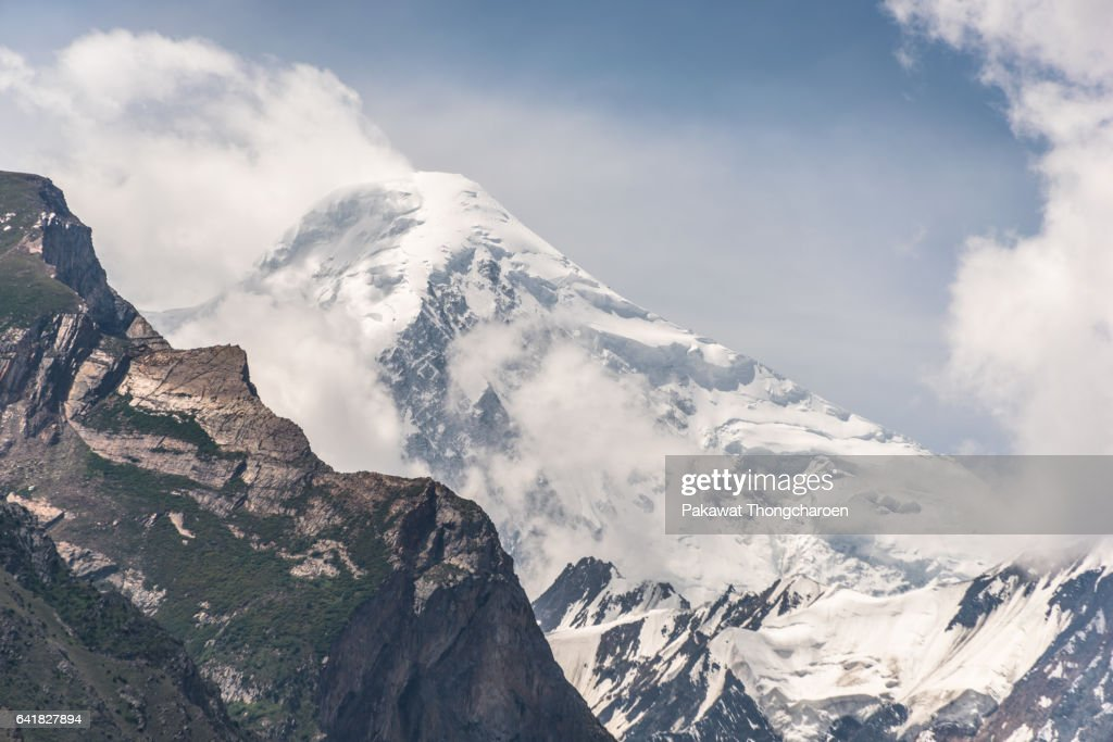 Close-up Rakaposhi Peak from Hunza Valley, Pakistan : Stock Photo