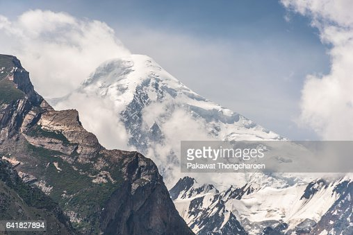 Close-up Rakaposhi Peak from Hunza Valley, Pakistan : Stock Photo