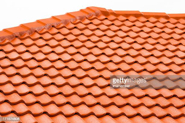 Closeup roof with red terracota tiles, copy space