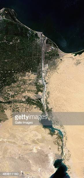 A closeup satellite image taken three days after the opening of the new Suez Canal running parallel to the initial Canal on August 9 2015 in Egypt...