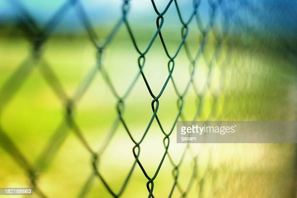 Close-up section of a chain-link fence with field behind it