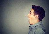 Closeup shocked dazed young man