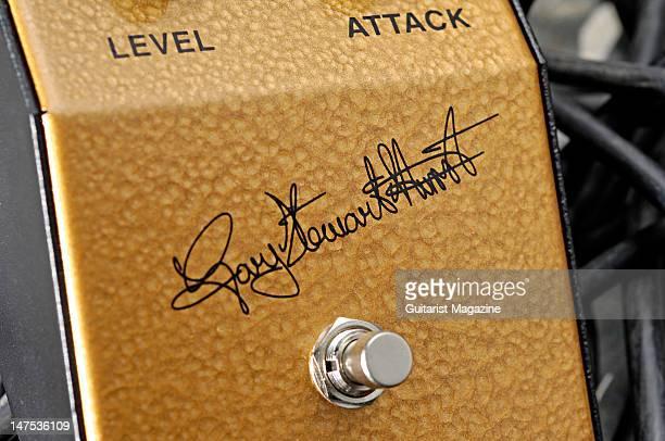 A closeup shot of a Gary Hurst Tonebender electric guitar fuzz effects pedal during a studio shoot for Guitarist Magazine September 18 2009