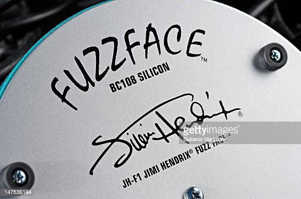 A closeup shot of a Jim Dunlop JHF1 Jimi Hendrix Fuzz Face electric guitar fuzz effects pedal during a studio shoot for Guitarist Magazine September...