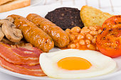 'English Breakfast served with bacon, egg, sausage, grilled tomato, black pudding, baked beans, mushrooms and hash brown.'