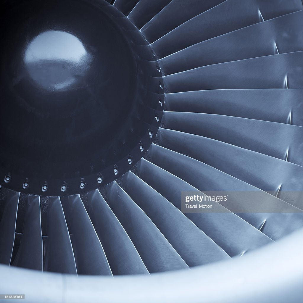 Closeup shot of aircraft jet engine turbine