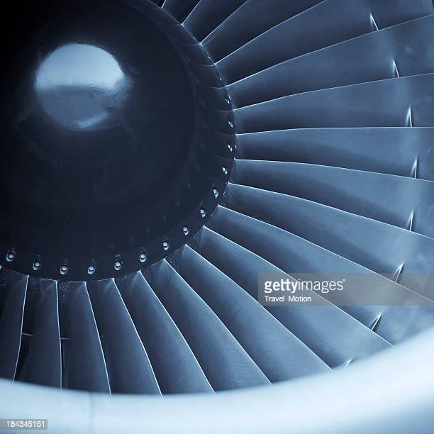 Closeup shot of aircraft jet engine turbine