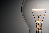 Close-up shot of illuminated light bulb with copy space