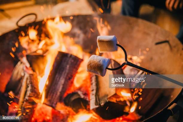 Gros plan coup de guimauves se tient au-dessus d'un feu