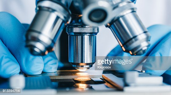 Close-up shot of microscope : Stock Photo