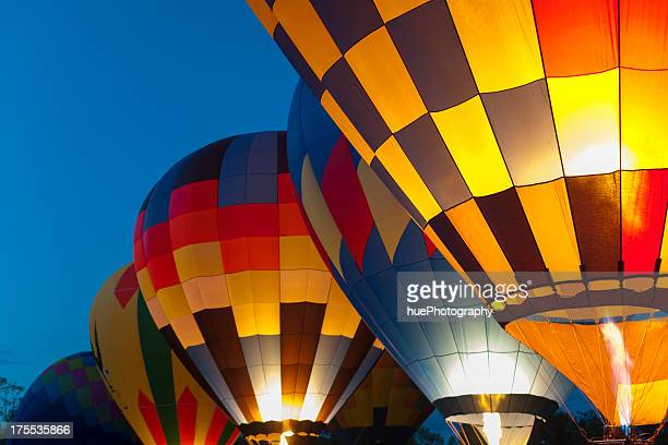 Closeup shot of multicolored hot air balloons