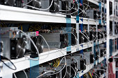 close-up shot of power supply units at ethereum mining farm