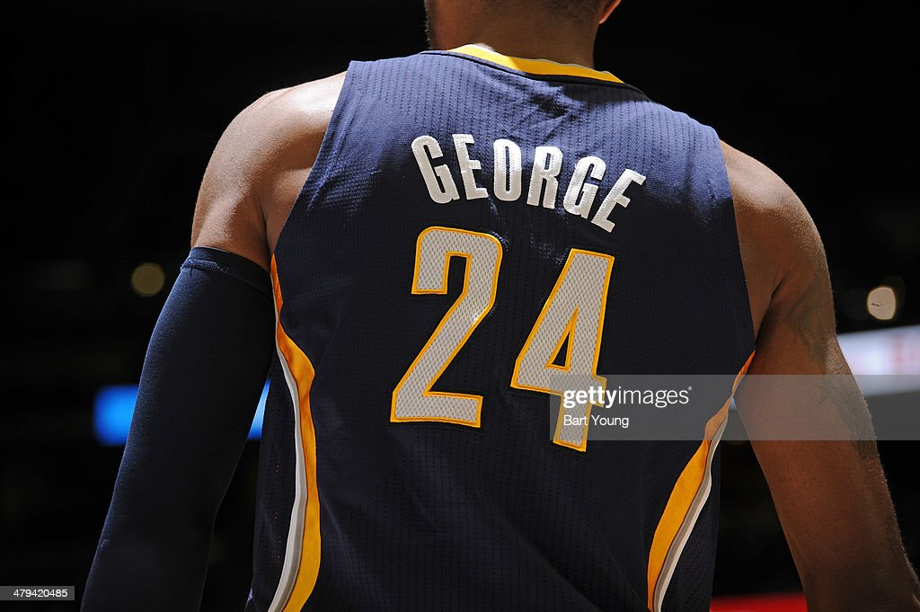 A close-up shot of the back of the jersey of Paul George #24 of the Indiana Pacers versus the Denver Nuggets on January 25, 2014 at the Pepsi Center in Denver, Colorado.