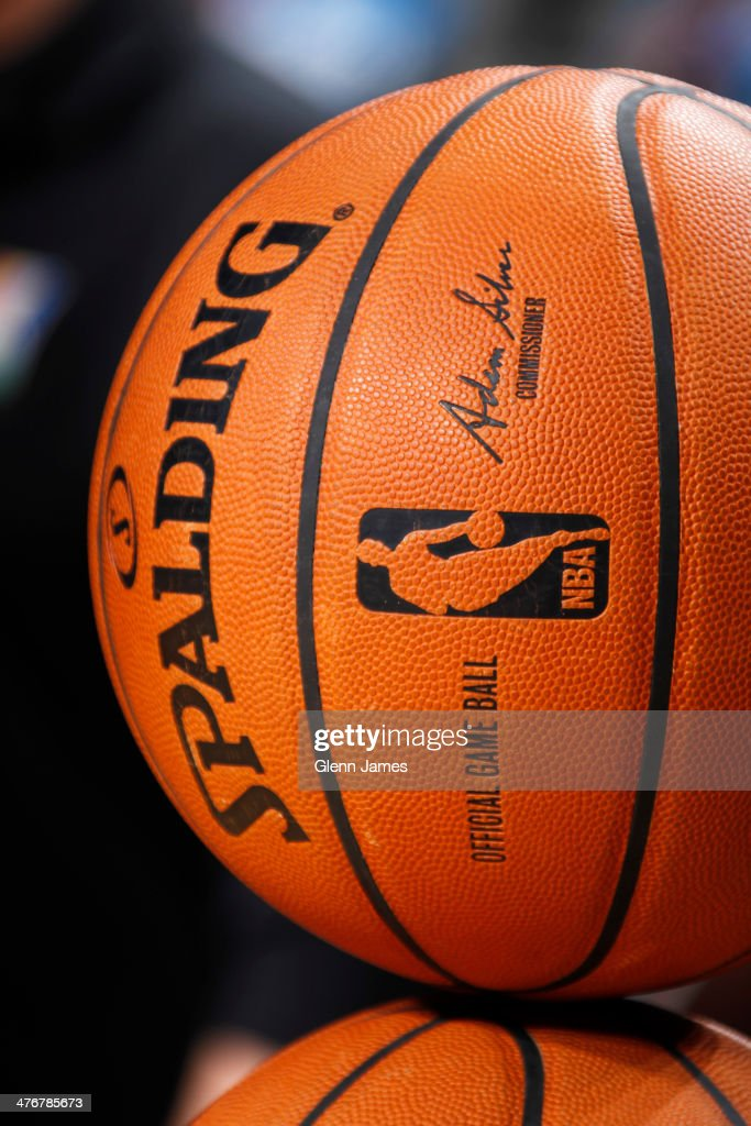 A close-up shot of the new Official Spalding NBA Game Ball signed by Commissioner Adam Silver at the Dallas Mavericks game against the Utah Jazz on February 7, 2014 at the American Airlines Center in Dallas, Texas.