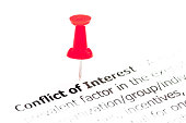 Words Conflict of Interest pinned on white paper with red pushpin, copy space available, Business Concept