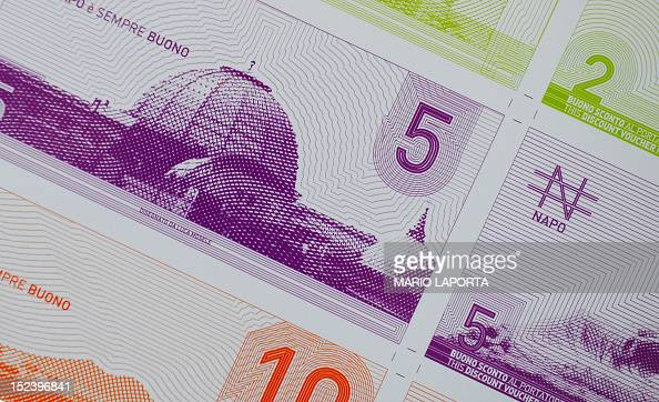A closeup shows on September 20 2012 different napo bills the new currency of the City of Naples Napo bills are to be printed next month to provide a...