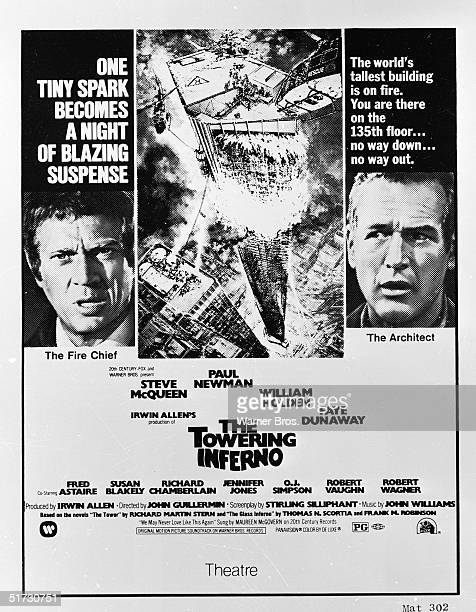 Closeup stills of American actors Steve McQueen and Paul Newman flank an illustration of a flaming skyscraper on a movie poster for the film 'The...