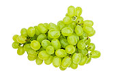 Close-up studio shot of organic white grapes