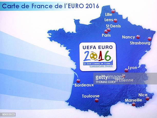 A closeup taken during a press conference of French football authorities in Paris on November 11 2009 shows a map with the names of the 12 towns...