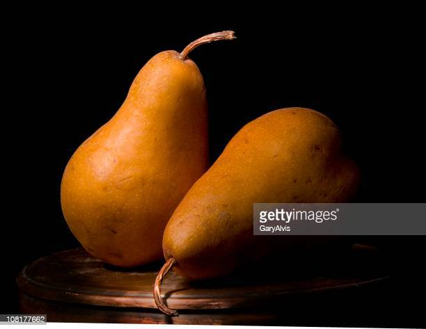 Close-up Two Bosc Pears-Still Life, Low Key