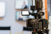 closeup Video taking the stage in some thing event, event and seminar production equipment concept