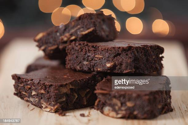 Close-up view of a batch of chocolate brownies