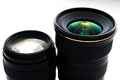 close-up view  of a camera lenses on a white background