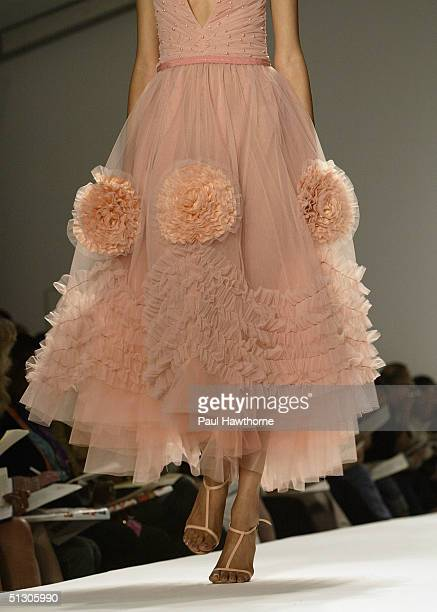 A closeup view of a dress is shown at the Reem Acra Couture Spring 2005 fashion show during the Olympus Fashion Week Spring 2005 at the Bryant in...