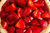 Closeup View of a Fresh Strawberry Pie