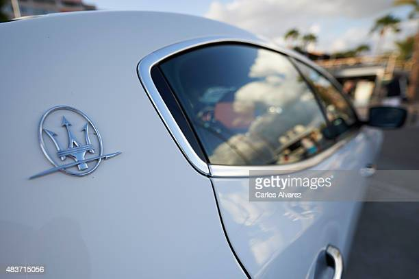 A closeup view of a luxury Maserati car parked at the Portals Port on August 09 2015 in Palma de Malorca Spain Puerto Portals is the most prestigious...