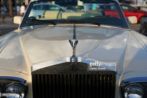 A closeup view of a luxury Rolls Royce car parked at the Portals Port on August 09 2015 in Palma de Malorca Spain Puerto Portals is the most...