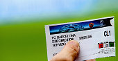 A closeup view of a match ticket before the UEFA Champions League Group E match between AS Roma and FC Barcelona at Stadio Olimpico on September 16...