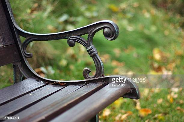 Closeup view of a single bench in the park