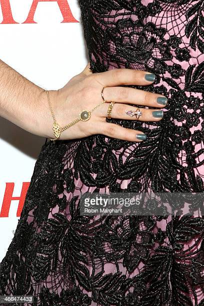 Closeup view of actress and fashion designer Alyssa Milano's jewelry at Talent Resources Sports presents MAXIM 'BIG GAME WEEKEND' sponsored by...
