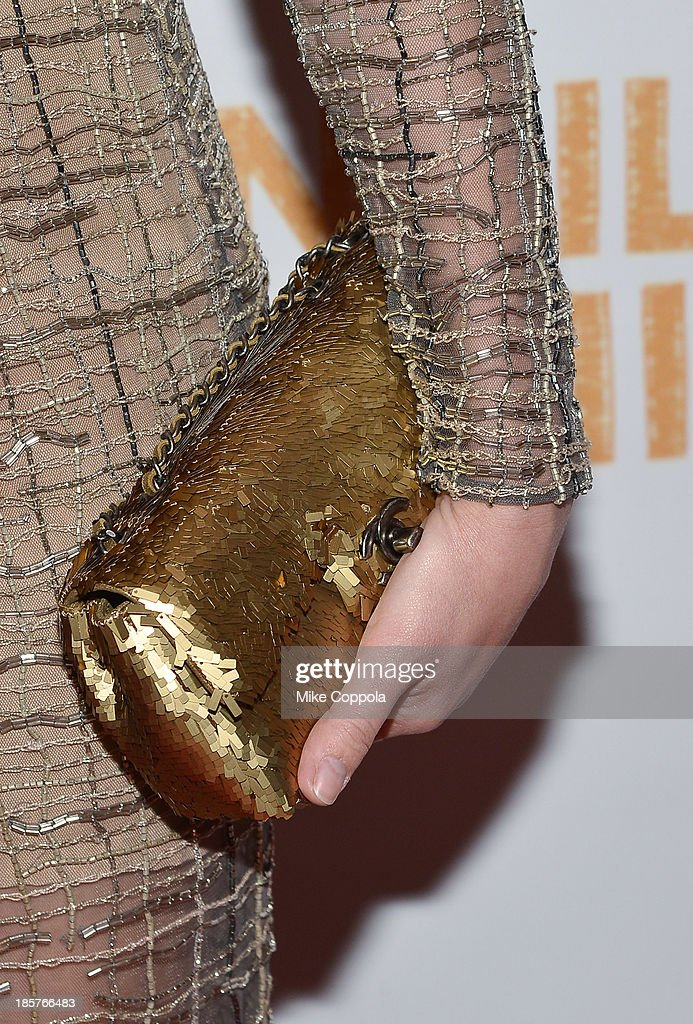 Close-up view of actress Sophia Bush's clutch at the third annual Pencils of Promise gala at Guastavino's on October 24, 2013 in New York City.