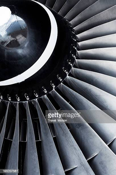 A close-up view of an aircraft jet engine turbine