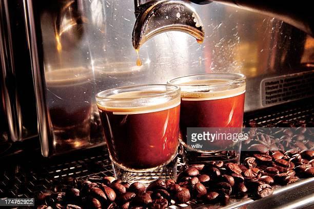 A close-up view of an espresso machine