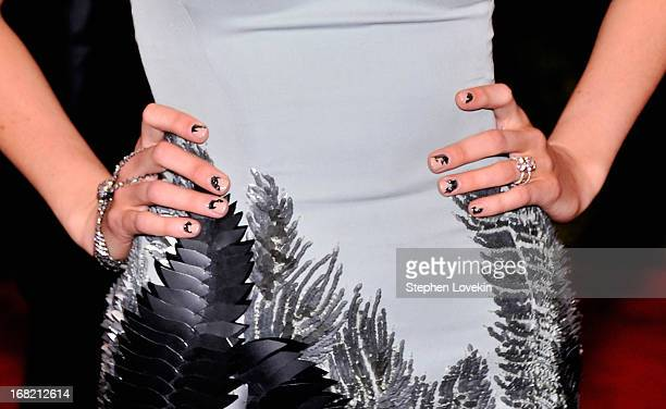 A closeup view of Blake Lively's nails at the Costume Institute Gala for the 'PUNK Chaos to Couture' exhibition at the Metropolitan Museum of Art on...