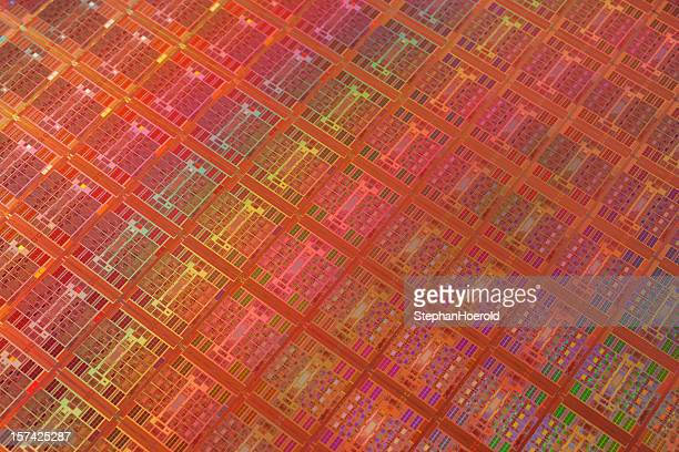 Close-up view of colorful wafer with regular pattern