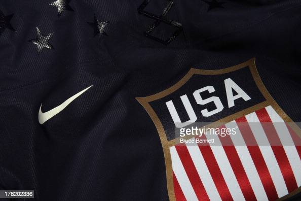 A closeup view of elements on the 2014 USA Hockey Olympic Team jersey as unvailed at the Kettler Capitals Iceplex on August 27 2013 in Arlington...