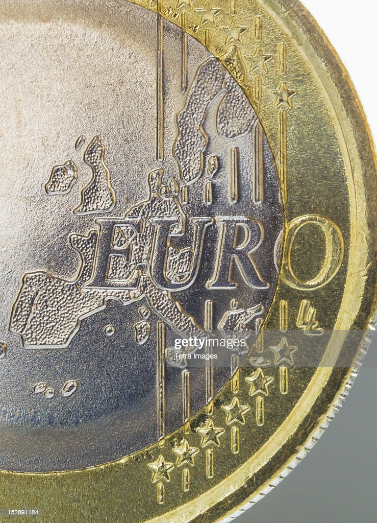 Close-up view of Euro coin