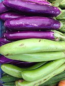 Closeup view of fresh eggplant, view group of many eggplant, a lot of eggplant, eggplant background