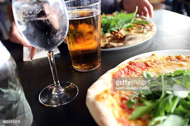 Close-Up View Of Fresh Pizza And Beer
