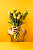 close-up view of girl holding beautiful yellow spring flowers on yellow