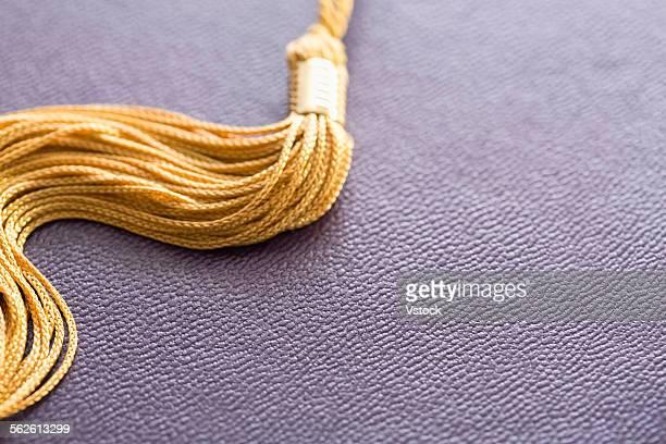 Close-up view of graduation tassel