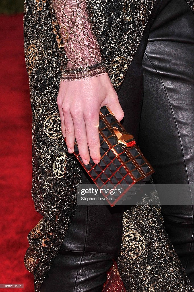A close-up view of Hilary Rhoda's clutch (fashion detail) at the Costume Institute Gala for the 'PUNK: Chaos to Couture' exhibition at the Metropolitan Museum of Art on May 6, 2013 in New York City.